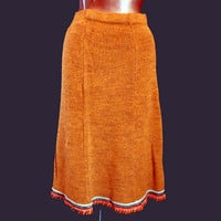 Vintage 70s Young Edwardian A Line Skirt Knit Rust Acrylic