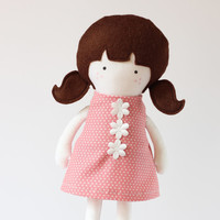 Girl Doll Clothes Pink White Dotted Cotton Dress Sleeveless Back cut out dress with flowers applique - Fit My 12 inch Fashion Dolls