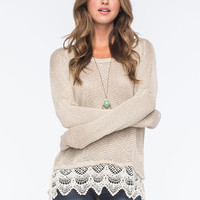 BLU PEPPER Lace Trimmed Womens Sweater | Pullovers