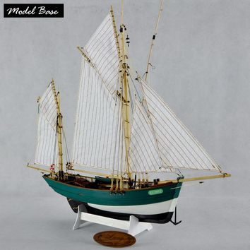 Wooden Ship Models Kits Diy Kids Toy Scale 1/50 Model Boats Wood 3d Laser Cut LUCY French Double Mast Vertical Sail Fishing Boat