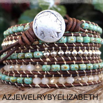 Native American, Leather Bracelet, Wrap Bracelet, Seed Bead Bracelet, Southwestern Jewelry, Tribal Bracelet, Indian Jewelry, Mens Bracelet.*