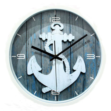 12 Inch Vintage Anchor Nautical No Ticking Quartz Round Wall Clock