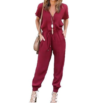 2016 New Fashion Women Jumpsuits Short Sleeve V Neck Casual Rompers Solid One Piece Loose  Pants long Drawsting Jumpsuits M0524