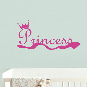 Wall decal decor decals princess crown nursery inscription letter cartoon cheerful girl story (m609)