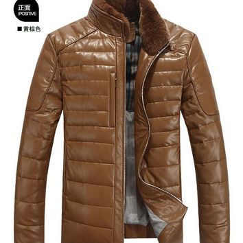 Hot 2016 New styles Leather Clothes mens standing collar sheep skin Down leather jacket, Brand Slim Winter Fur coat, M-3XL