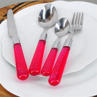 HA228-4 Free Shipping High Quality Stainless Steel Dinnerware Cutlery Set New Red Transparent Flatware Set 2016