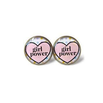 ICIKGQ8 girl power conversation heart stud earrings funny anti valentine s day jewelry pas