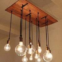 Rustic Chandelier made from salvaged hardwood floor by urbanchandy