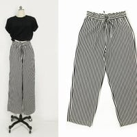 vintage striped silk pants, wide leg 90s high waisted trousers, black & white - womens l