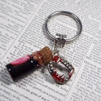Vampire Blood Potion Bottle Halloween Keychain Key Chain with Fang Charm