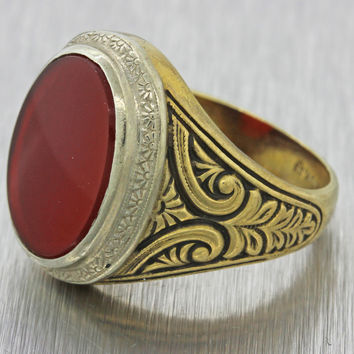 Men's Antique 10k Solid Yellow White Gold 19mm Red Carnelian Signet Ring