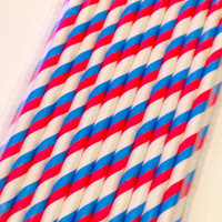 American party straw set, Fourth of July, summer, paper straw set