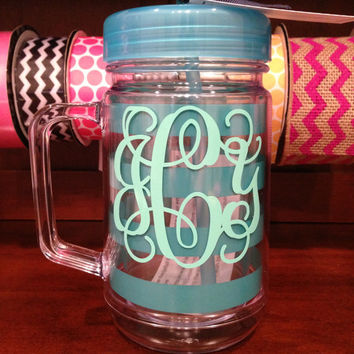 Preppy Stripe Double Wall Acrylic Mason Jar - Turquoise