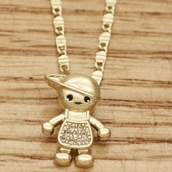 Gold Layered Girls Little Boy Fancy Necklace, with White Micro Pave, by Folks Jewelry