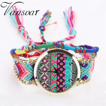vansvar Women Fashion Handmade Braided Rope Ladies Quartz Watch Women's Watch