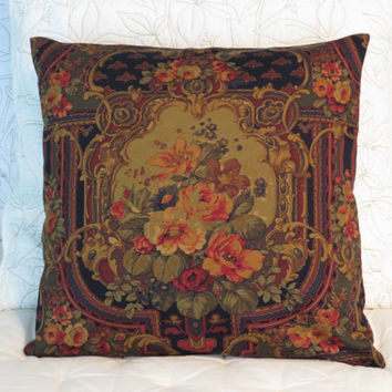 "Edwardian Floral Pillow, 18"" Sq, Vintage Look, Navy Peach Burgundy Gold Green, Zipper Cover Only or Insert Included, Ready Ship"