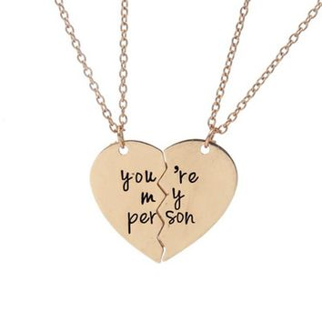 You're My Person Broken Heart Pendant Necklace