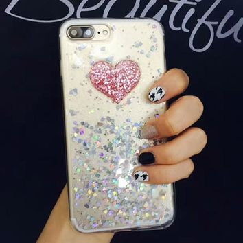 Sparkle Glitter Powder Love Heart Case For iphone 7 6 6S Plus