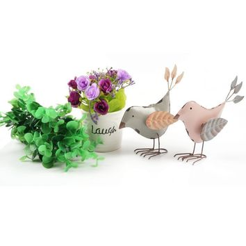 Vintage Home Decoration A Pair Of Cute Metal Stand Birds Leaf Wings Home Decoration Accessories Crafts Home & Garden