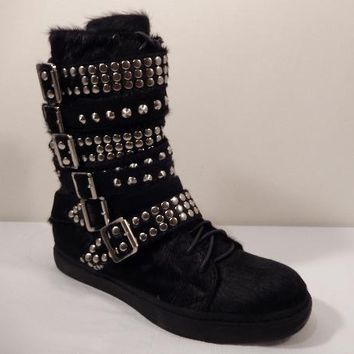 Damned Hi-top Pony Hair Strapped Studded Sneakers