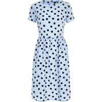 Light blue polka dot midi dress - day / t-shirt dresses - dresses - women