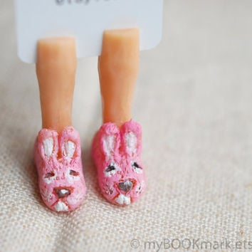 Bunny slippers bookmark. Girly legs in the book. Pastel pink rabbit sneakers. Unusual  for kids, her, mom, mother. Cute ohtteam