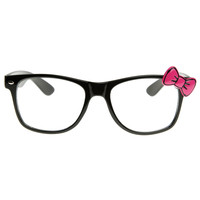 Womens Mod Cat Eye Clear Lens Horn Rimmed w/ Hello Kitty Bow