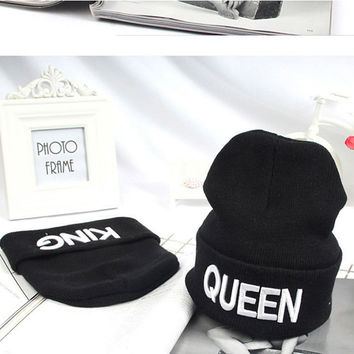 King Queen Beanie Winter Hats Cap Men Women Knitting Beanies Skullies Knitted Hiphop Hat Couples Lovers Winter Caps KH981612