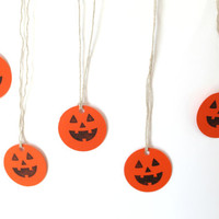 Halloween Decorations Set of 25, Pumpkin Die Cut Gift Tags, Halloween Treat Tags, Jack O Lantern Favors