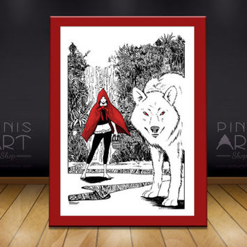 Red Hood and the woolf, illustration  -  Art Print -A4