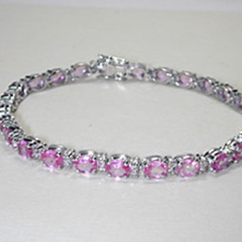 24.65ct Round Diamond and Pink Sapphire Bracelet 18kt white gold  JEWELFORME BLUE