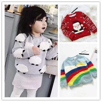 ins hot 2017 autumn winter boys clothing girls clothing kids sheep sweaters christmas vestidos children clothing RAINBOW TOPS
