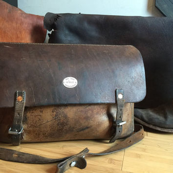 Rare Swiss Army Vintage Leather Messenger Bag - 1945 Saddlebag WWII