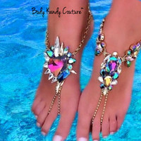 Jeweled Crystal Barefoot Sandals