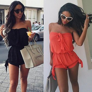 Open Back Chiffon Floral Romper Womens Summer Playsuits Jumpsuit 2015 Summer Cute Feminino Vestidos Female Overalls Clothing - Beauty Ticks