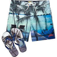 River Island MensBlue Tokyo Laundry shorts and flip flop set