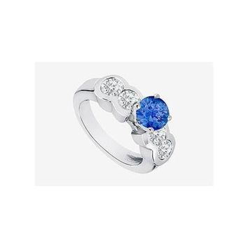 DCCKU7Q Sapphire Engagement Ring in 14K White Gold 3.20 Carat TGW. Channel set Cubic Zirconia