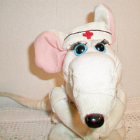 Heartline Mouse Nurse Stuffed Animal White 1987 Vintage Toy Medical Assistant