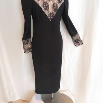 Vintage 70s womens black cocktail dress lace rhinestone long sleeve size L XL XXL sexy holiday fancy party evening