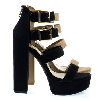 Tournament31 Black By Black Faux Suede, Chunky Block Heel Gladiator Open Toe Sandal On Platform