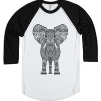 Aztec Elephant-Unisex White/Black T-Shirt