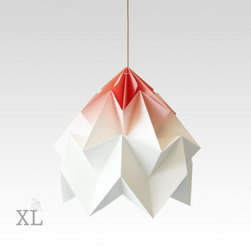 XL Moth origami lampshade gradient coral