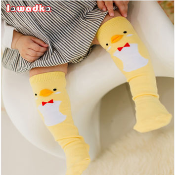 Cute Soft Cotton Kawaii Girls Boys Sock Duck Penguin  Design Catoon Pattern Kids Socks Baby Long Socks