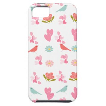 Cute Ditsy Flowers, Birds and Sweet Love Hearts iPhone 5/5S Cases