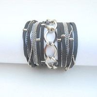 Boho Chic 5X Wrap Bracelet with Dark Grey Suede cord and Nickel Chains.