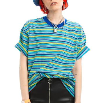 Vintage 90's Striped Boxy Tee - One Size Fits Many