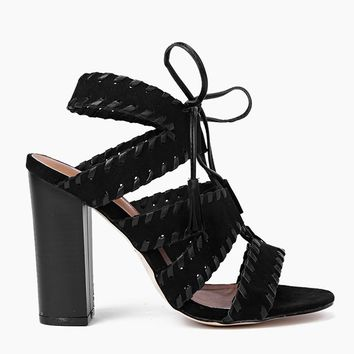 Boohoo Stitch Detail Lace Block Heels