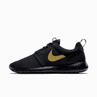 Nike Roshe Run Custom Black with Gold speckles, Men and Women sizes available, All Black with Gold swoosh