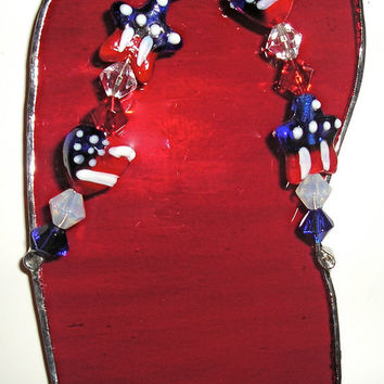 Handmade Stain Glass Flip Flop Suncatcher Beach Sand Fourth of July