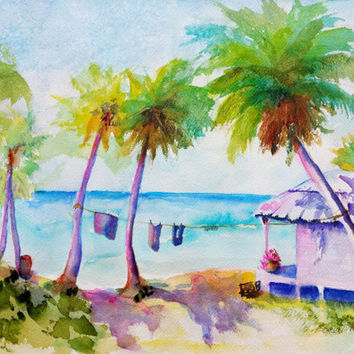 Original Watercolor painting, Tropical Beach House Paradise, 12x16, Beach hut, palm trees, turquoise ocean, beach theme, landscape, seascape
